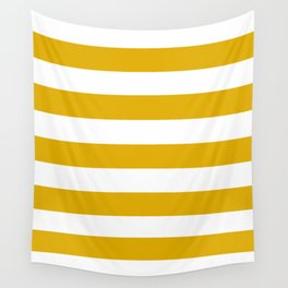 Mustard yellow - solid color - white stripes pattern Wall Tapestry