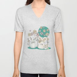 Pastel easter eggs and bunnys III Unisex V-Neck