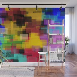 geometric square pattern painting abstract in yellow brown green pink blue Wall Mural