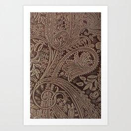 Cocoa Brown Tooled Leather Kunstdrucke