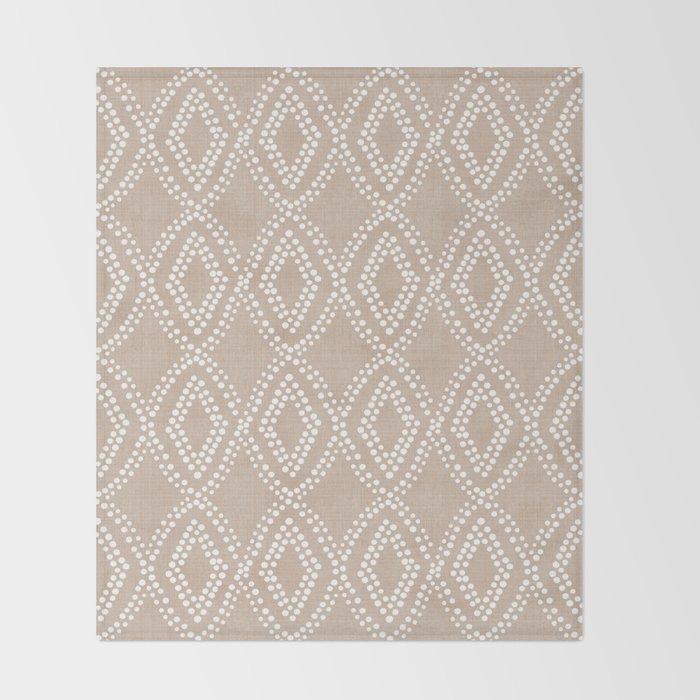 Diamond Dots in Tan Throw Blanket