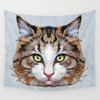 meow Wall Tapestries featuring MEOW by Ancello