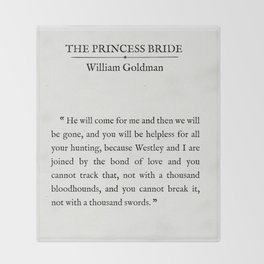 "Book Page - The Princess Bride ""The Bond of Love"" Quote Throw Blanket"