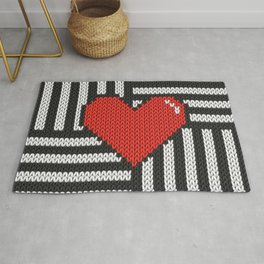 Knitted 8-bit red heart on striped background on products Rug