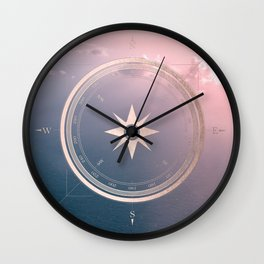 The Edge of Tomorrow - Rosegold Compass Wall Clock