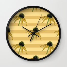 Floral Seamless Pattern, Yellow Hand Illustrated Motif, Echinacea Flowers Wall Clock