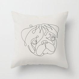 One Line Pug Throw Pillow