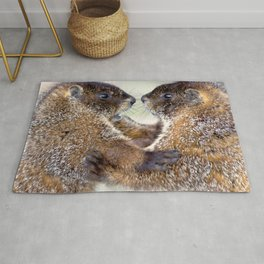 Watercolor Marmot 33, Forest Canyon Tundra, RMNP, Colorado, Sibling Rivalry Rug