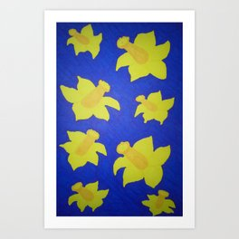 Pop Art Daffodils Blue Art Print