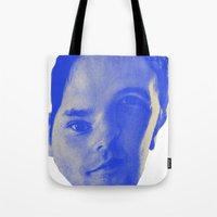 chad wys Tote Bags featuring Bad Chad Head by Blake Makes Tees