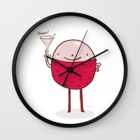 martini Wall Clocks featuring Lychee Martini by Piktorama