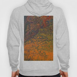 Fluid Art Acrylic Painting, Pour 16, Orange, Purple, Green & Red Blended Color Hoody