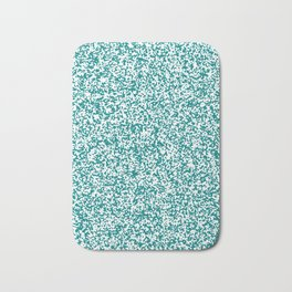 Tiny Spots - White and Dark Cyan Bath Mat