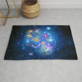 Colorful Pleiades Star Cluster Rug