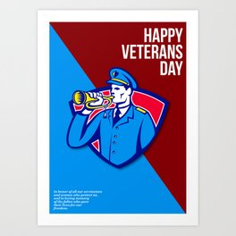 Modern Veterans Day Soldier Bugle Greeting Card Art Print