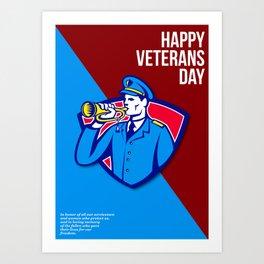 Modern Veterans Day Soldier Bugle Greeting Card Art Print