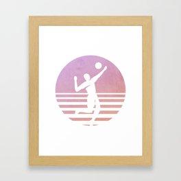 Sunset beach volleyball summer gift Framed Art Print