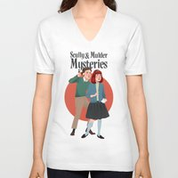 mulder V-neck T-shirts featuring Scully and Mulder Mystery Stories  by Celeste Pille