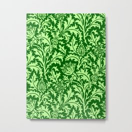 William Morris Thistle Damask, Emerald Green Metal Print