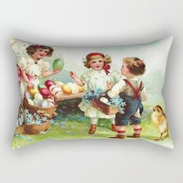 Vintage Easter Party Rectangular Pillow