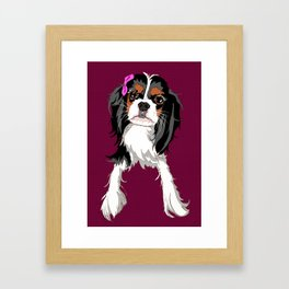 Tri-color Cavalier King Charles Spaniel Puppy Framed Art Print