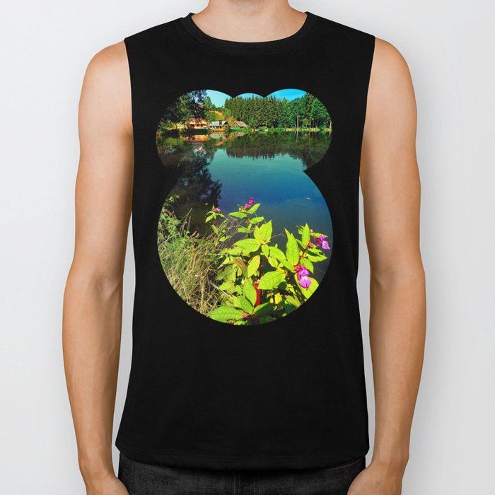 End of summer at the pond Biker Tank