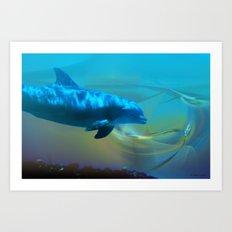 Happy Dolphin Art Print
