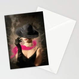 The Pink Scarf , Noir Stationery Cards