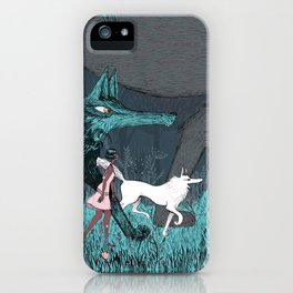 Woman Wolf wandering | magical forest/  iPhone Case