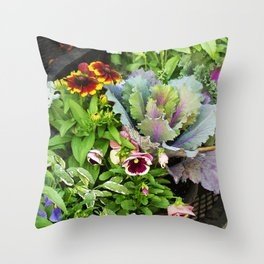 Potted Fall Flowers Throw Pillow