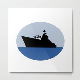 World War Two Battleship Destroyer Oval Retro Metal Print
