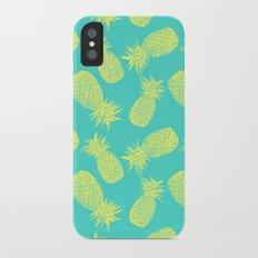 Pineapple Pattern - Turquoise & Lemon Slim Case iPhone X
