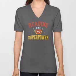 Reading Is My Superpower Librarian Book Unisex V-Neck
