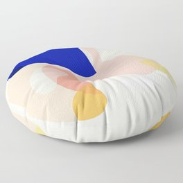Modern Abstract Peach Pink Navy Blue Yellow Pattern Floor Pillow