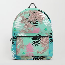 Blue Golden Marble Floral Abstract Backpack