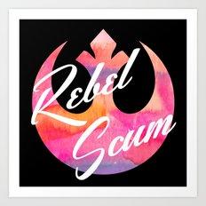 Rebel Scum Sunset Watercolor on Black Art Print