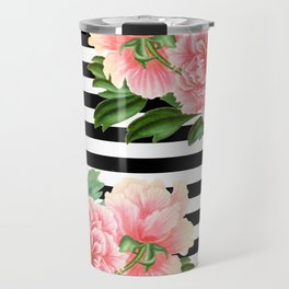 Pink Peonies Black Stripes Travel Mug