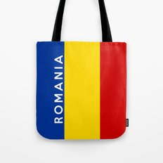 Romania country flag name text  Tote Bag