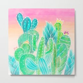 Modern tropical exotic summer cactus illustration pink ombre watercolor Metal Print