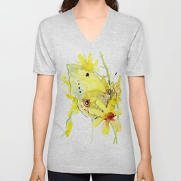 Yellow Butterfly and Yellow Flowers Unisex V-Neck
