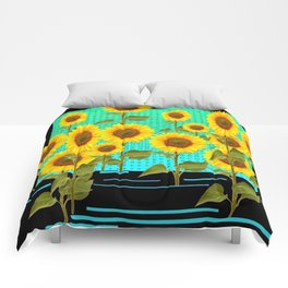 SUNFLOWER FIELD BLACK-TURQUOISE GRAPHIC Comforters