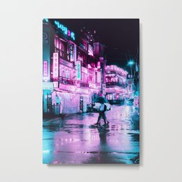 Magenta and Cyan Lights in the City Umbrella (Color) Metal Print