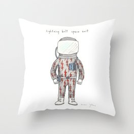lightning bolt space suit Throw Pillow