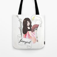 fangirl Tote Bags featuring Fangirl by Zomberflie