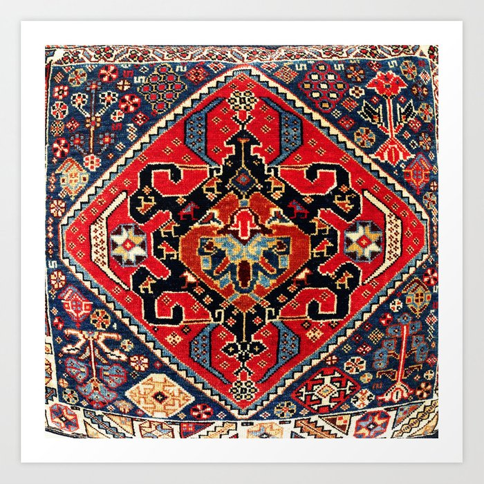 Qashqa'i Antique Fars Persian Bag Face Print Kunstdrucke