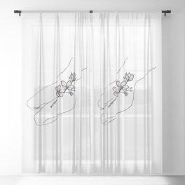 Flower cunt Sheer Curtain