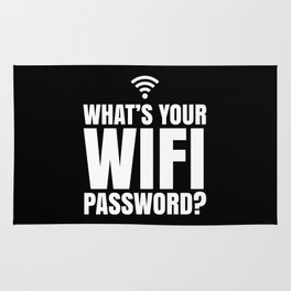 What's Your WiFi Password? (Black & White) Rug