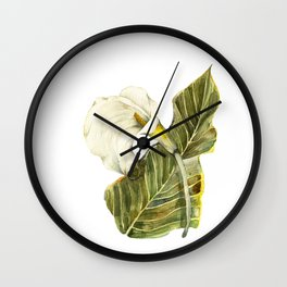 White Calla Lily Wall Clock