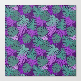 Pattern with monstera leaves Canvas Print