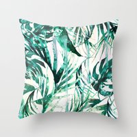 tropical Throw Pillows featuring Green Tropical paradise  by Nikkistrange